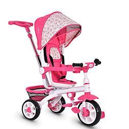 Costzon 4-in-1 Kids Tricycle Steer Stroller Toy Bike w/Canop