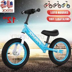 12'' Kids Baby Walker Balance Bike No-Pedal Carbon Steel Fra