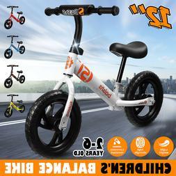 "12"" Kids Children's Balance Bike No-Pedal Learn to Ride Pre"