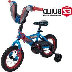 "12"" Marvel Spider Man Boys Kids Starter Bike With Training W"