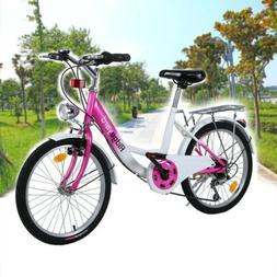 "20"" Girls Bike 6-Speed Kids Bicycle Adjustable Seat Front an"
