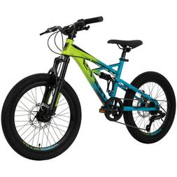 Huffy 20-inch Oxide Boys Mountain Bike for Kids , Lime / Blu