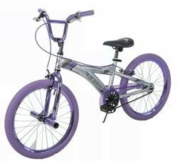 "Huffy 20"" Radium Girls Kids Ride Metaloid BMX Bike Silver wi"