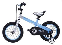 """RoyalBaby CubeTube Matte Buttons 14"""" Bicycle for Kids, Blue"""