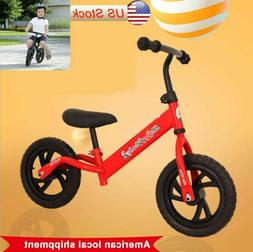"Balance Bike Kids No-Pedal Learn To Ride Pre Bike 12"" Adjust"