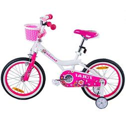 Tauki Girl's Bike with Training Wheels and Basket, Gift for