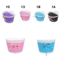 Bike Basket for Kids Boys Girls Bicycle Basket Plastic Knitt