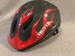 Giro Bike Helmet Black Red Flames Race Trail Child Kids Size