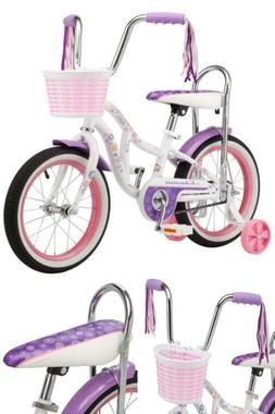 Schwinn Bloom kids bike, 16-inch wheel, training wheels, gir
