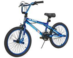 "BMX BIKE Kids Boys Bicycle 20"" Wheels Metallic Blue Steel Fr"