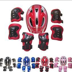 Boys Girls Kids Safety Helmet & Knee & Elbow Pad Set For Cyc