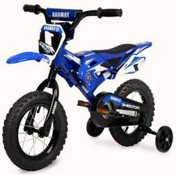 "Boys Kids Bike Yamaha Moto Childs BMX 12"" Blue 2-4 wheels Ch"