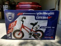 """Brand New RoyalBaby Hero 12"""" Steel Kids Red Training Bike"""