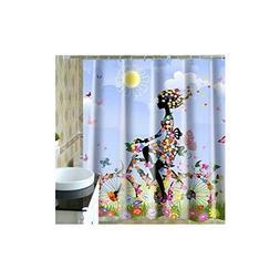 Adisaer Colorful Summer Girl Bike 180X200 cm Fabric Shower C