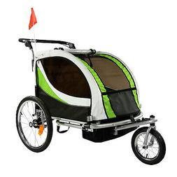 ClevrPlus Deluxe 3-in-1 Double Seat Bike Trailer Stroller Jo