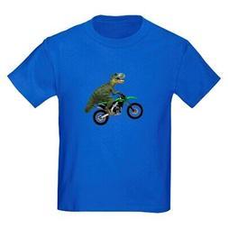 CafePress Dirt Bike Wheelie T Rex Kids Dark T Shirt Kids T-S
