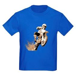 CafePress Dirt Bike Wheeling In Mud Kids Dark T Shirt Kids T