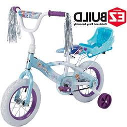 "Disney Frozen 12"" Girls' EZ Build Bike with Sleigh Doll Carr"