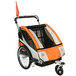 Clevr Elite 3-in-1 Two Seat Bike Trailer Jogger Stroller for