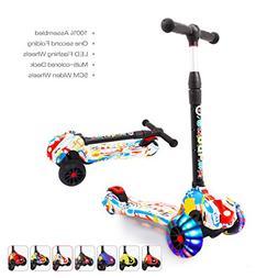 XJD Extra-Wide Wheels Kick Scooters for Kids 3 Wheels Adjust