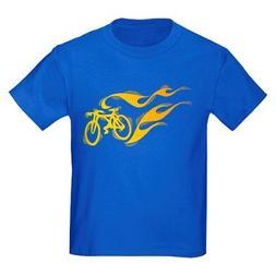CafePress Flaming Bicycle Kids Dark T Shirt Kids Cotton T-sh