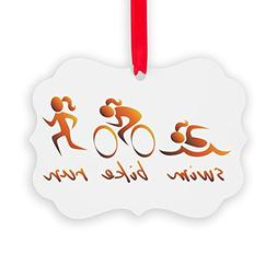 CafePress Swim Bike Run  Christmas Ornament, Decorative Tree