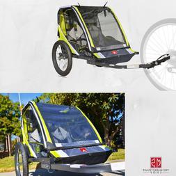 Green 2-Child Bike Trailer Lightweight Cart Outdoor Kid Stro