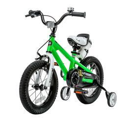 Green Steel Freestyle BMX Kid's Bike Rubber 14 in. Wheels wi