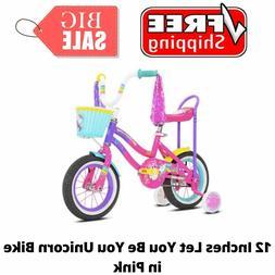 KIDS BIKE Girls Bicycle 12-Inch Unicorn Purple Pink Steel Fr