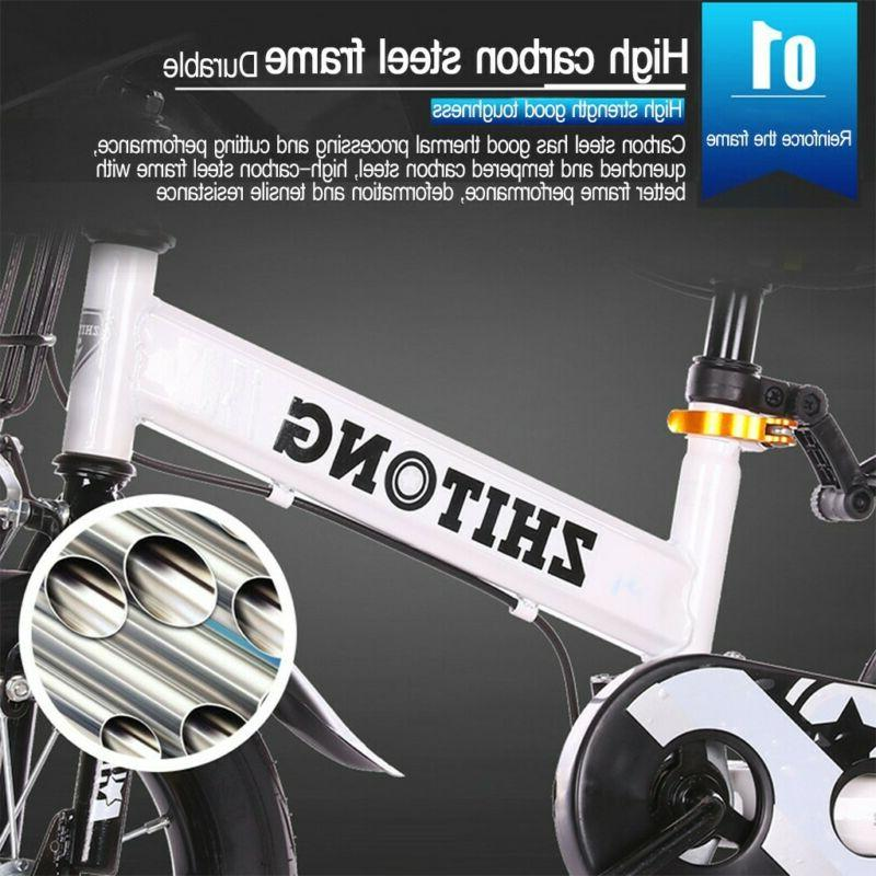 "12""-14""-16"" Kids Bike Bicycle Boys LED Training Wheels Brake"