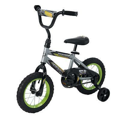 Huffy 12-Inch Rock It Boys Bike , Silver Matte / Lime