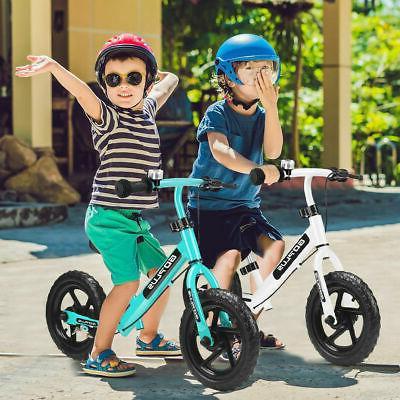 "12"" Navy Balance Bike & Girls Brakes and Bell Exercise"