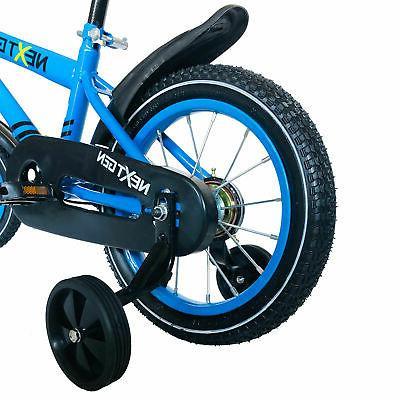 NextGen 14 Inch Kids Training Wheels & Basket, Blue
