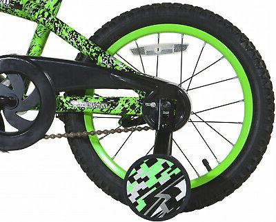 Bicycle with Training Wheels Single Speed Green
