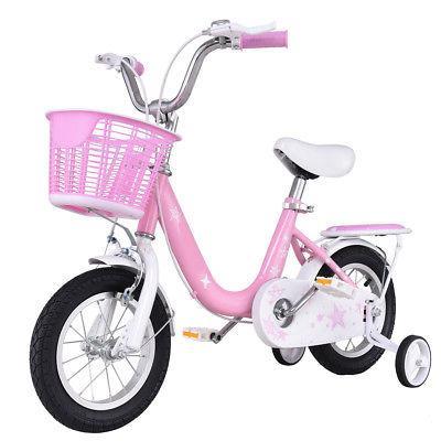 "16"" Kids Children Boys Girls with Training Wheels and Basket Pink"