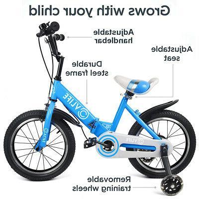 """16"""" Kids Bicycle Boys Girls Adjustable Seat Flash Wheel"""