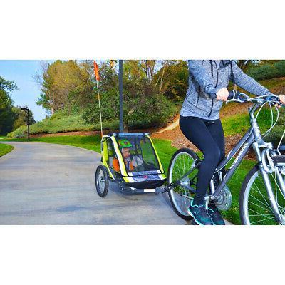 2-Child Bike Trailer Cart Outdoor Stroller Racing Sports