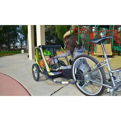 2-Child Bike Cart Outdoor Kid Racing Green