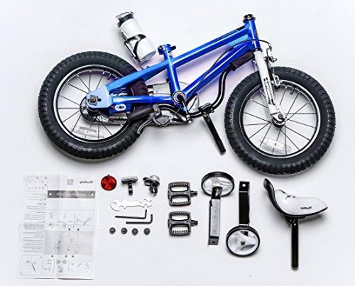 Royalbaby RB14B-6B Kids Bike, and Girl's Bikes training wheels, Gifts for children, 14 Blue