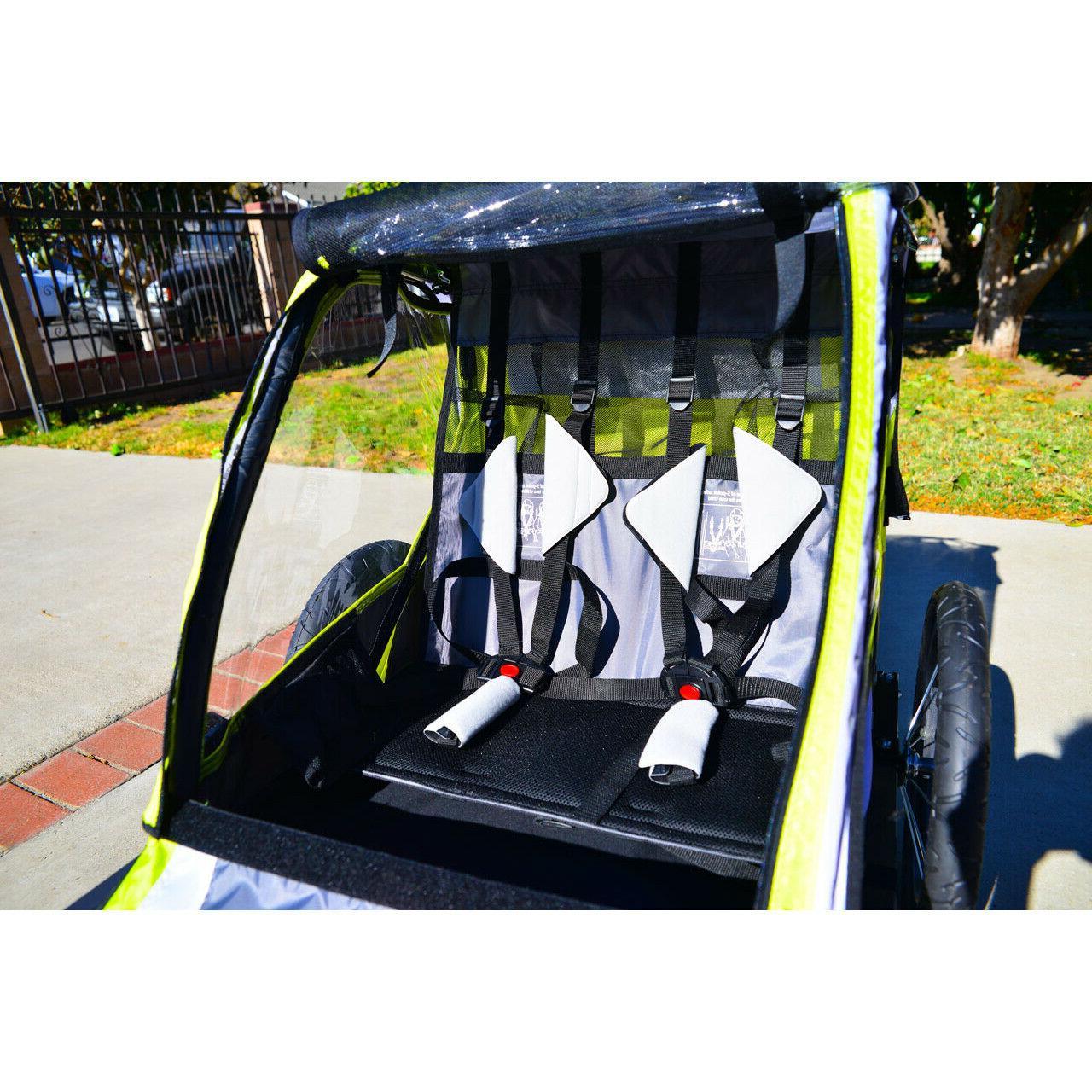 Green Bike Trailer Stroller Racing Sports