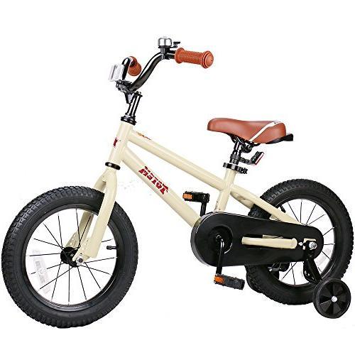 JOYSTAR Bike for 3 4 5 Girls, Unisex Bicycle with Training Beige, 85% Assembled