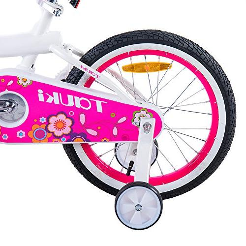 Tauki Bike Training Basket, Gift for Girls, 12-16 inch, White/Pink