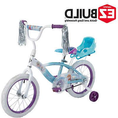 """Huffy Disney Frozen 16"""" EZ Build Girls Bike with Sleigh Doll"""