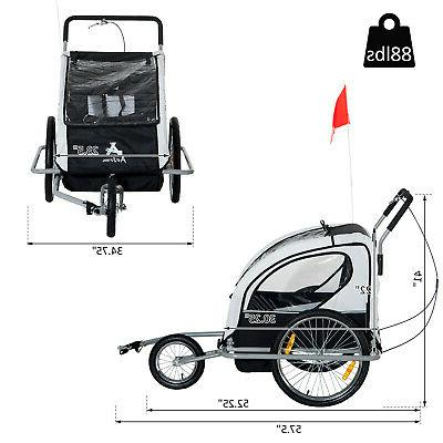 Aosom Elite Double Bike Trailer Child Bicycle Black
