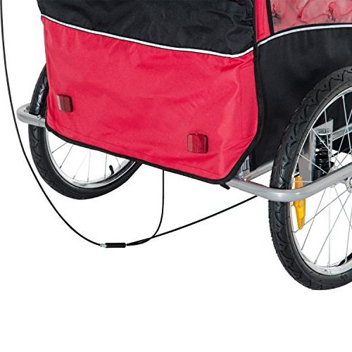 Aosom II 3-in-1 Double Trailer/Stroller/Jogger, Red/Black