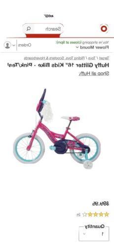 "Huffy Glitter 16"" Kids Bike - Pink/Purple NEW"