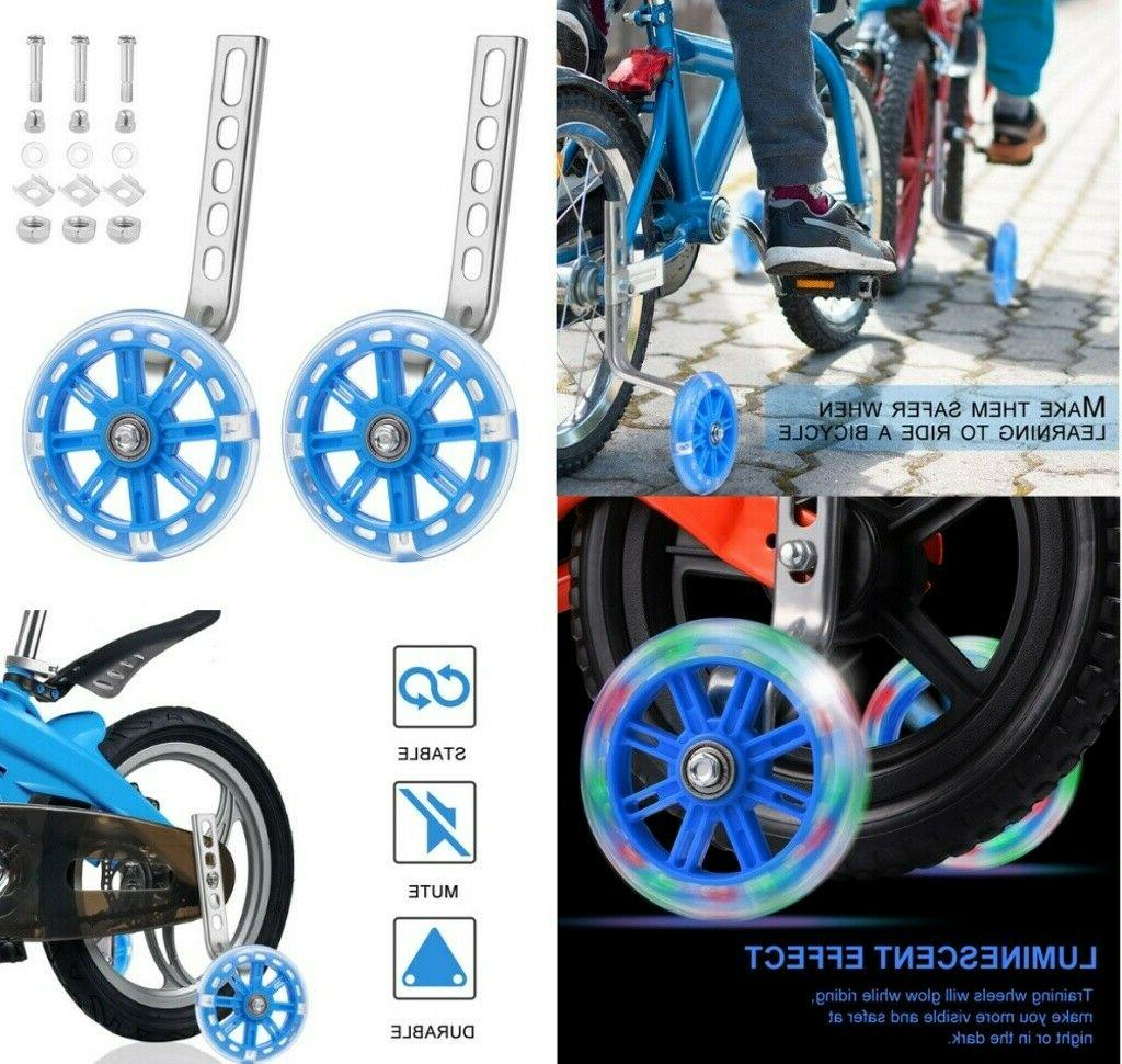 glowing bike training wheels bicycle stabilizers kit