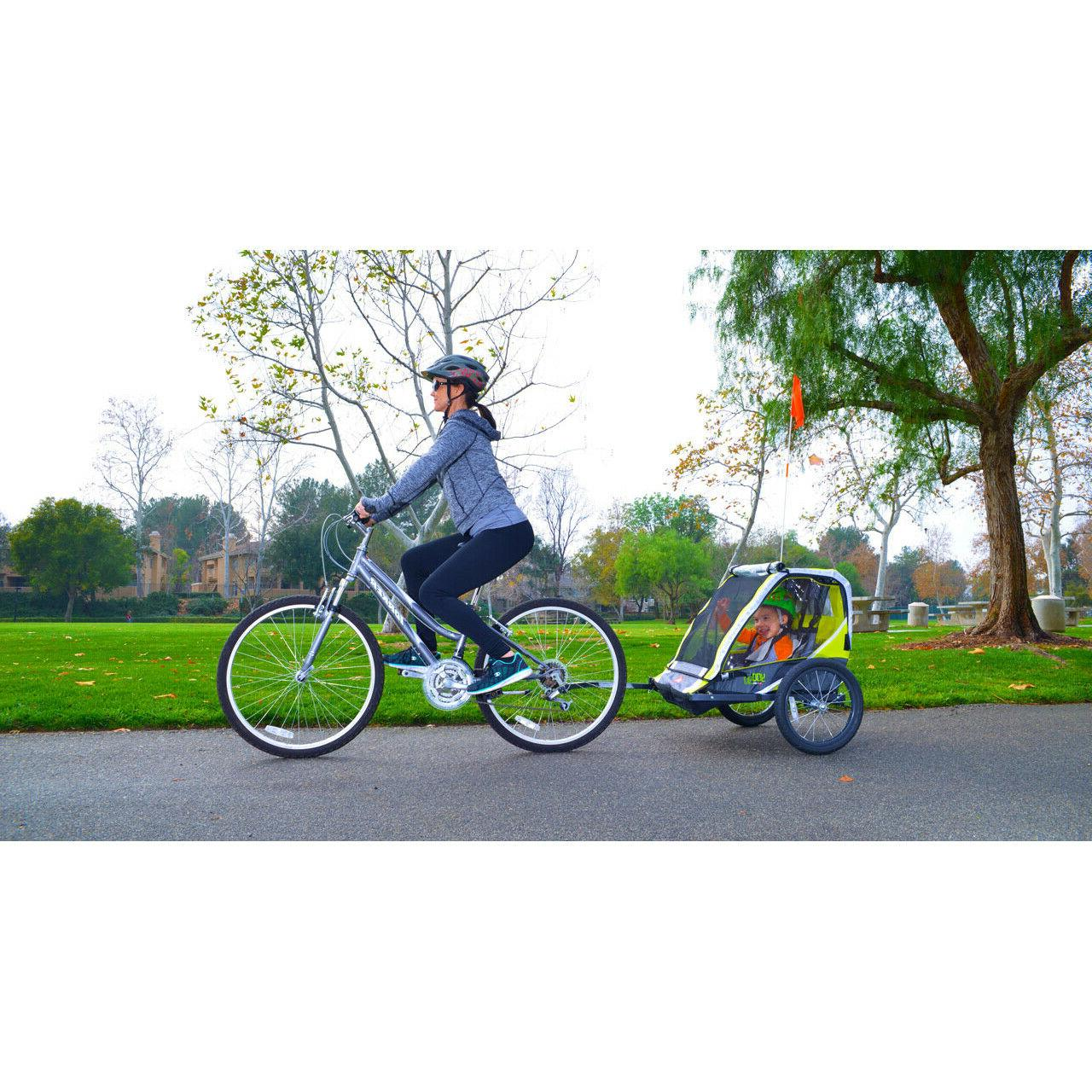 Green 2-Child Bike Lightweight Outdoor Kid Stroller Racing Sports