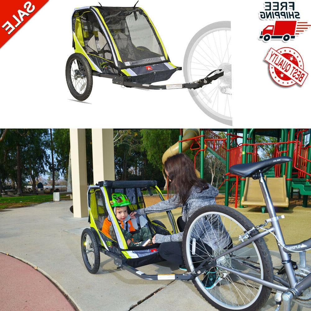 green 2 child bike trailer lightweight cart
