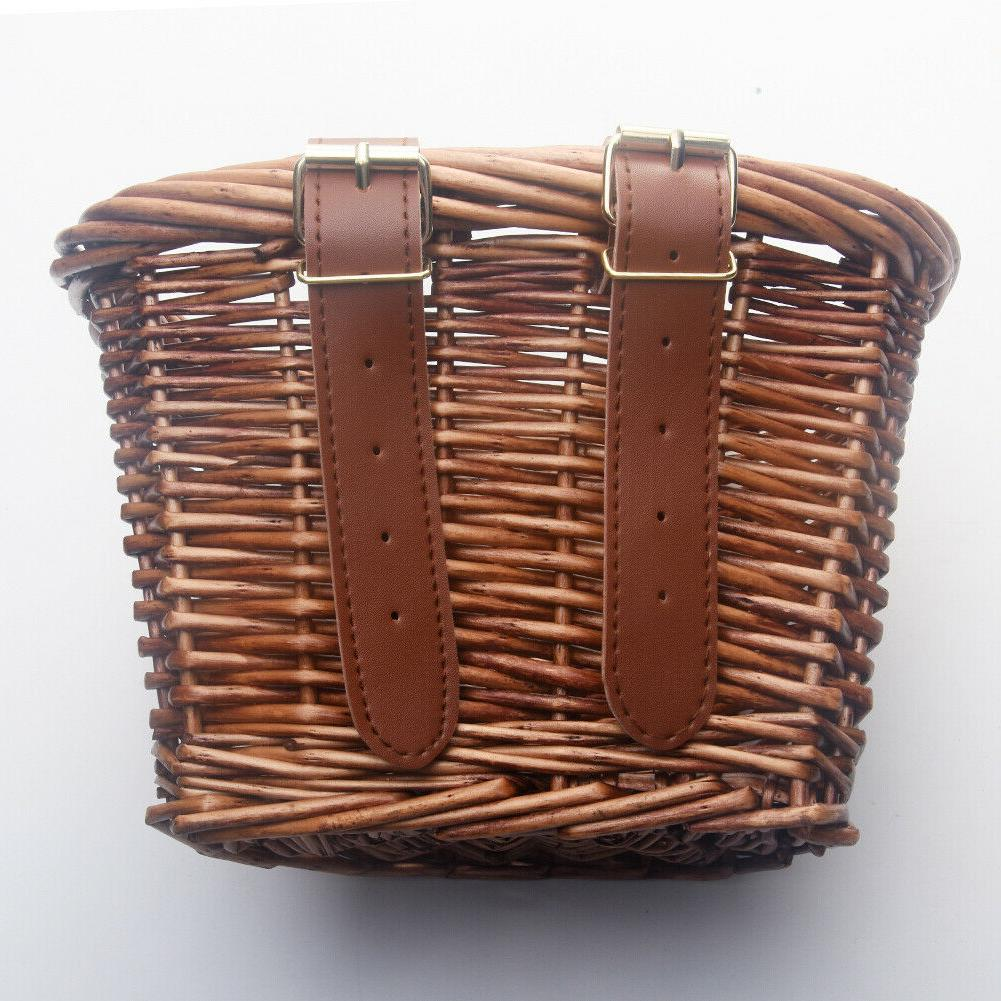 Hand-made Wicker Basket Bike Handlebar